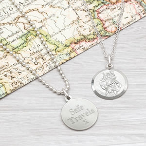 Sterling Silver St Christopher Personalised Necklace - personalised jewellery