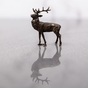 Miniature Bronze Stag Statue - sculptures
