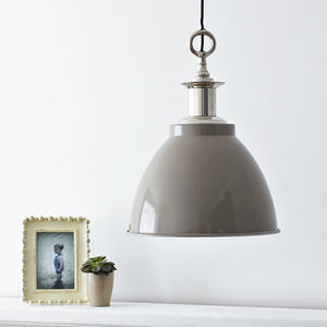 Large Domed Enamel Pendant Light Putty Grey - pendant lights
