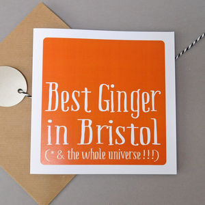 Personalised 'Best Ginger In' Card - birthday cards