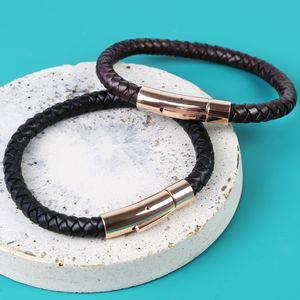 Men's 'Trigger Happy' Leather Bracelet In Rose Gold - jewellery sale