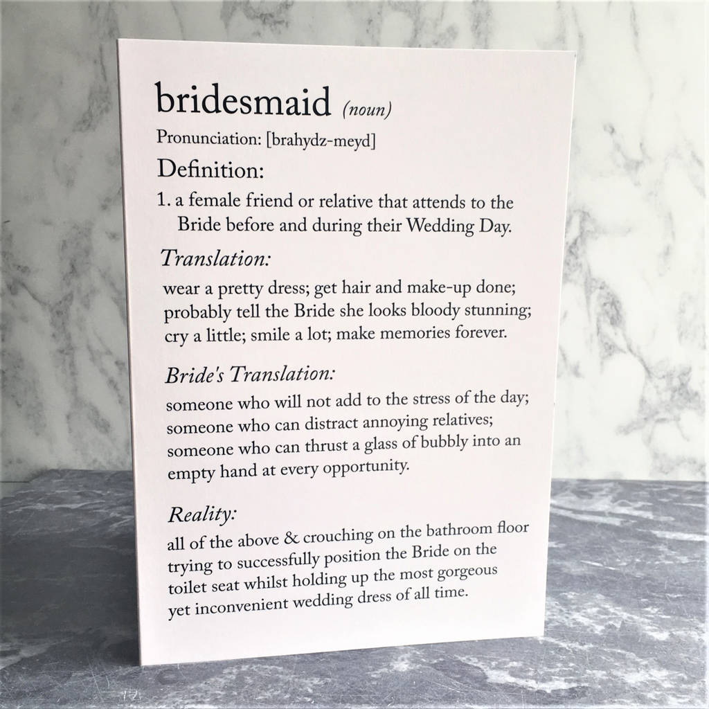 funny bridesmaid definitions a5 card by the new witty ...