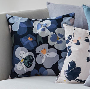 Blue Floral Pansy Cushion - bedroom