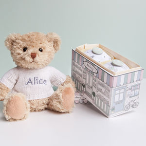 Personalised Bertie Bear With Two Pyjama Cupcakes - gift sets