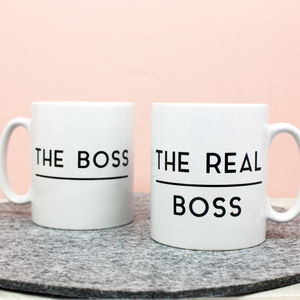 The Boss / Real Boss Mug Set - gifts for couples