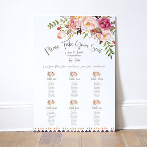 Boho Floral Wedding Table Plan - room decorations