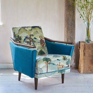 The New Pinzon Armchair In Fable Aesop And Omega Velvet