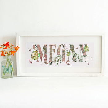 Elephant Petal And Palm Leaf Personalised Name Print