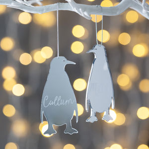 Personalised Mirrored Penguin Decoration - tree decorations
