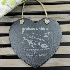 Caravan Personalised Engraved Heart Slate Decoration
