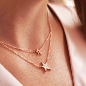 Rose Gold Double Layered Star Necklace - gifts for her