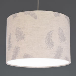Boho Grey Feather Linen Drum Lampshade