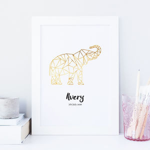 Personalised Girls/Boys Geometric Animal Foil Print