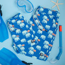 Father And Son Matching Blue Elephants Swim Shorts
