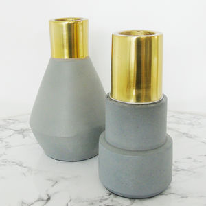 Concrete And Gold Candlestick