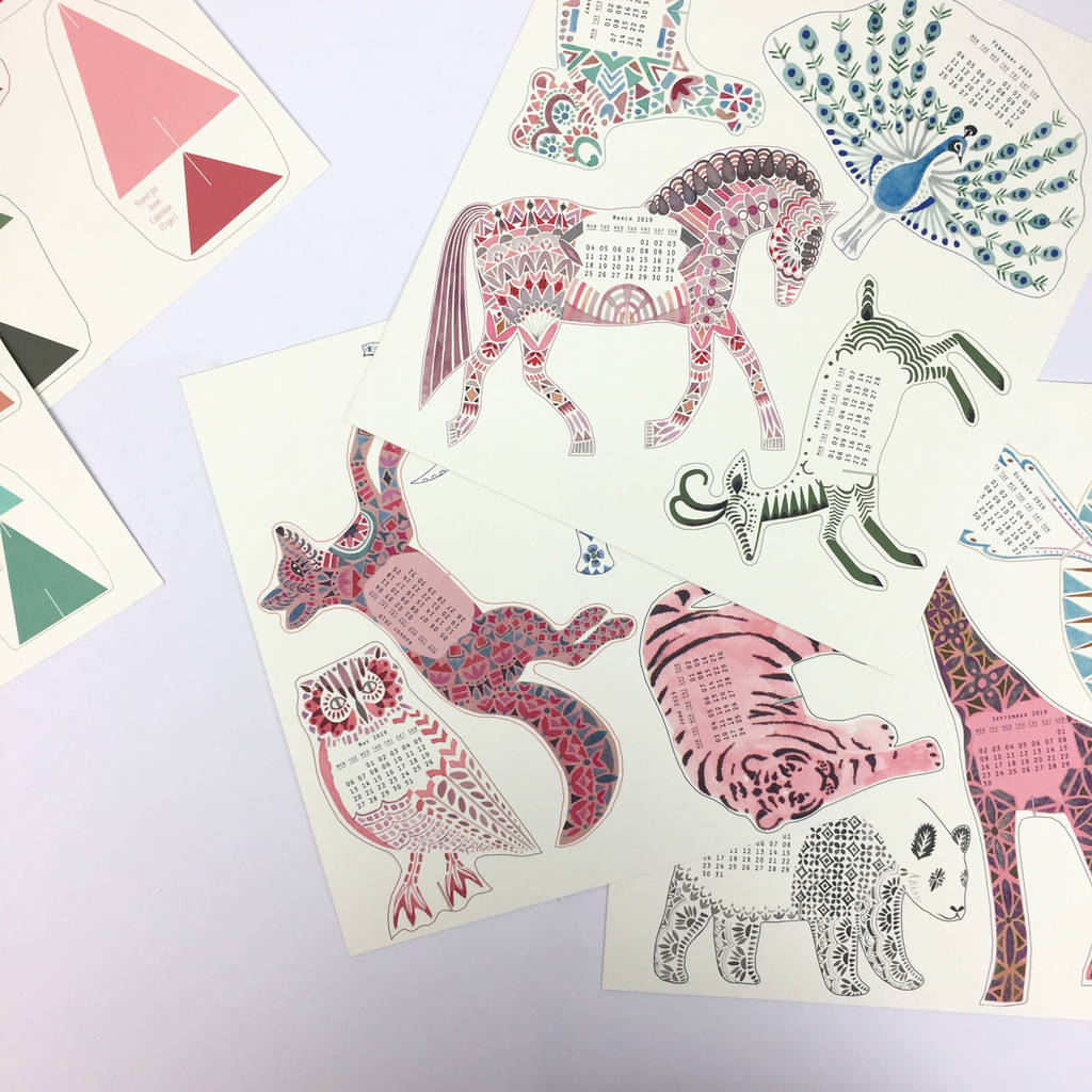 2019 Diy Desk Calendar Pop Up Menagerie By Prism Of Starlings