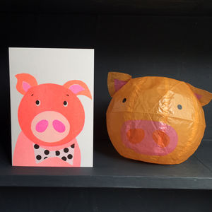 Pig Paper Balloon Greeting Card