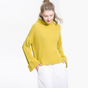 Flared Sleeve Roll Neck Jumper In Mustard Yellow - sale