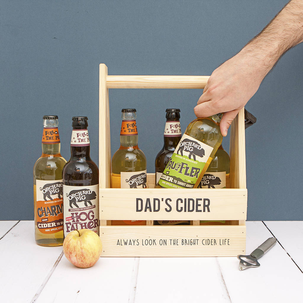 Personalised Wood Trug And Six Bottles Somerset Cider