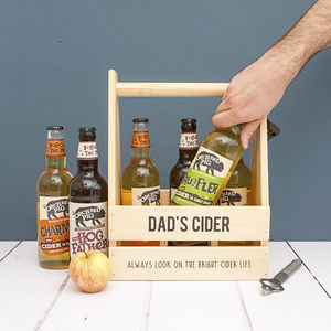 Personalised Wood Trug And Six Bottles Somerset Cider - picnicware