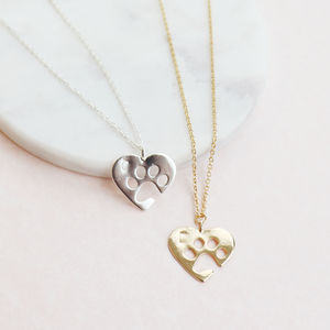 Personalised Paw Print Heart Necklace - necklaces & pendants
