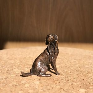 Miniature Solid Bronze Labrador Sculpture