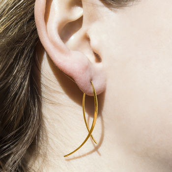 Gold Wishbone Wire Drop Earrings