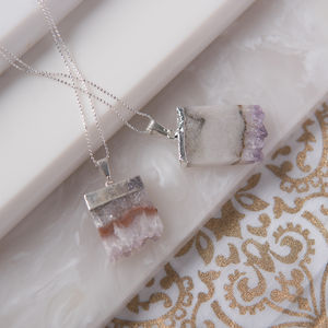 Amethyst Slice Gemstone Necklace - birthstone jewellery gifts