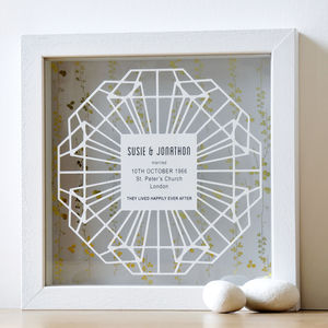 Framed 60th Diamond Wedding Anniversary Papercut Gift