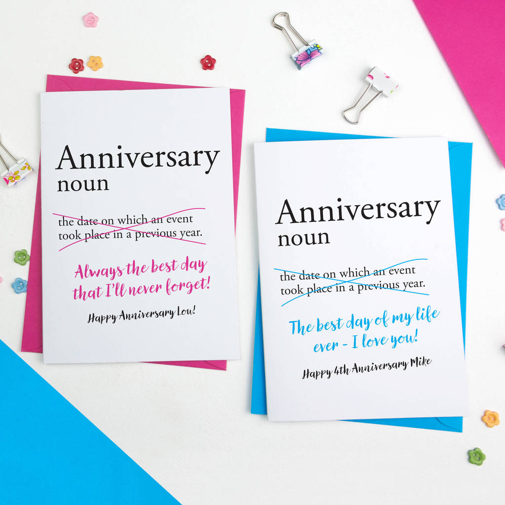 anniversary dictionary definition personalised card by a is for