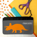 Personalised Triceratops Dinosaur Fabric Pencil Case