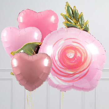 Pink Rose Inflated Balloon Package