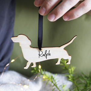 Dog Personalised Wooden Christmas Hanging Decoration
