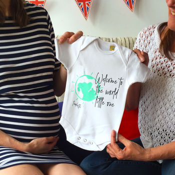 Welcome To The World Personalised Babygrow