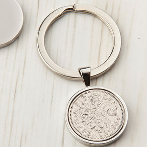 Sixpence Year Coin Keyring 1928 To 1967 - women's accessories