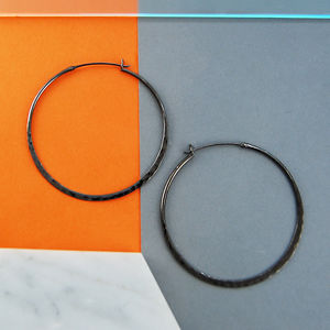 Large Oxidised Silver Black Hoop Earrings - earrings