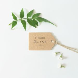 Kraft Wedding Favour Tags Let Love Grow - wedding favours