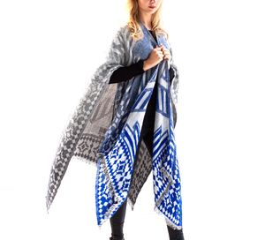 Indigo To Grey Blanket Wrap