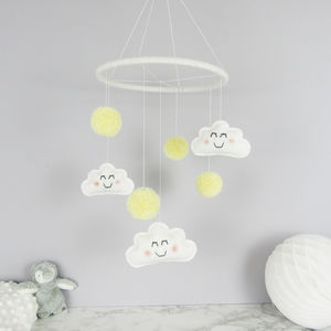 Cloud Mobile With Pom Poms - dreamland nursery