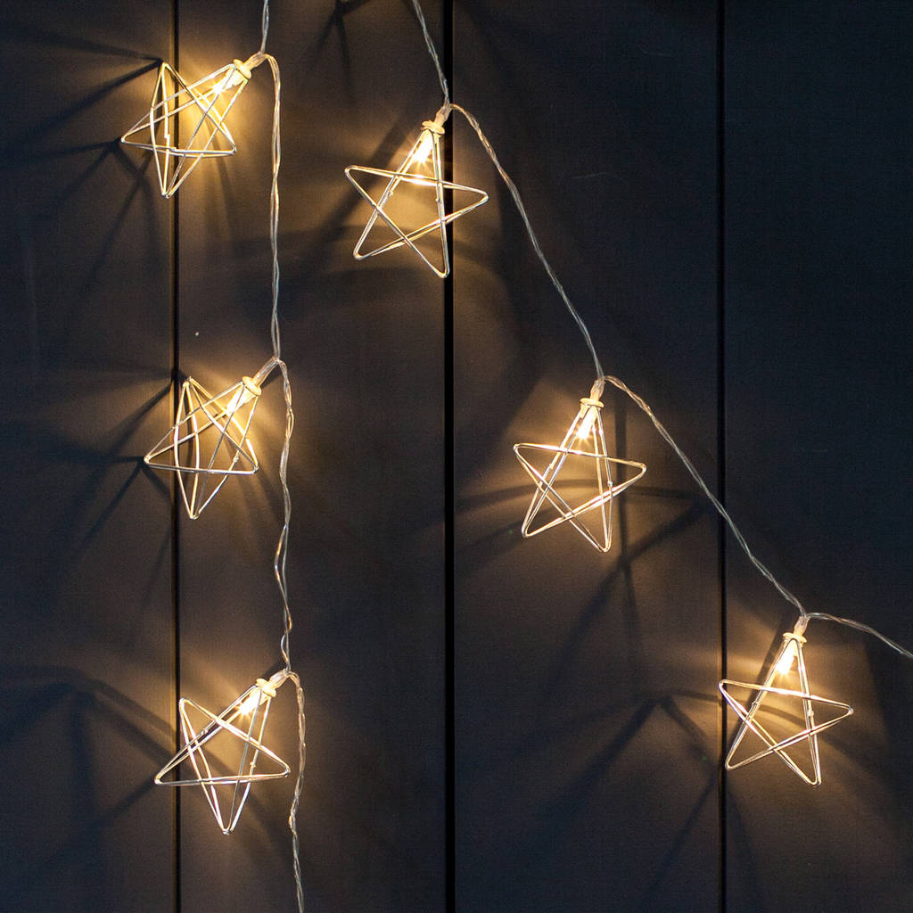 20 Silver Geometric Star Fairy Lights