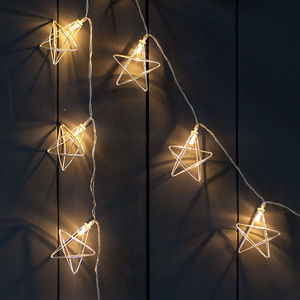 20 Silver Geometric Star Fairy Lights - christmas lighting