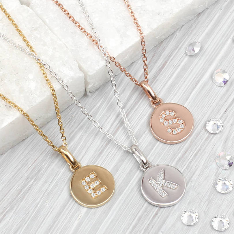 Personalised genuine diamond initial disc necklace by hurleyburley personalised genuine diamond initial disc necklace mozeypictures Image collections