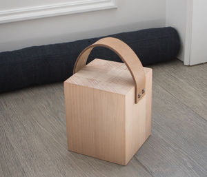 Kelston Door Stop With Leather Strap In Beech