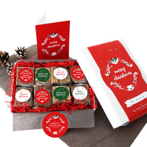 Eight Christmas Gluten Free Brownies Gift Box - dietary food and drink