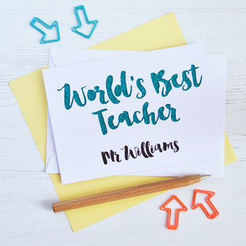 White Personalised World's Best Teacher Cut Out Card with Turquoise Glitter