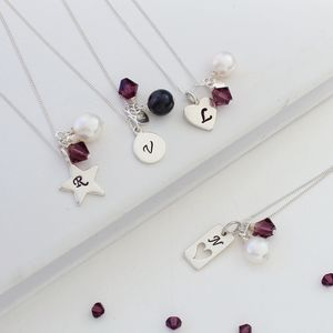 Personalised Birthstone And Silver Charm Necklace - favourites