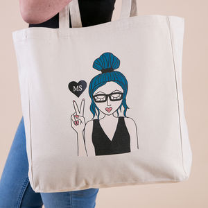 'Miss Sassy Tote Bag Personalised With Initials