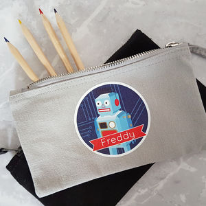 Personalised Robot Pencil Case