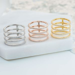 Four Line Geometric Fashion Ring - rings