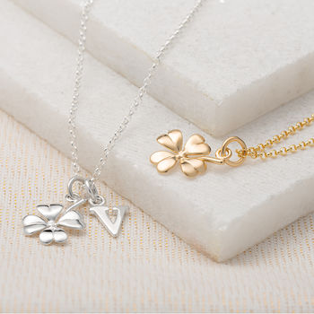 Four Leaf Clover Necklace With Personalised Message